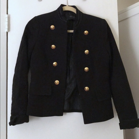 d4f19232e08 Black velvet military coat with gold buttons. M 5b1724bc04e33dec5f8ef992